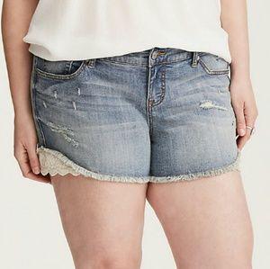Torrid Light Blue Distressed Shorts Size 18